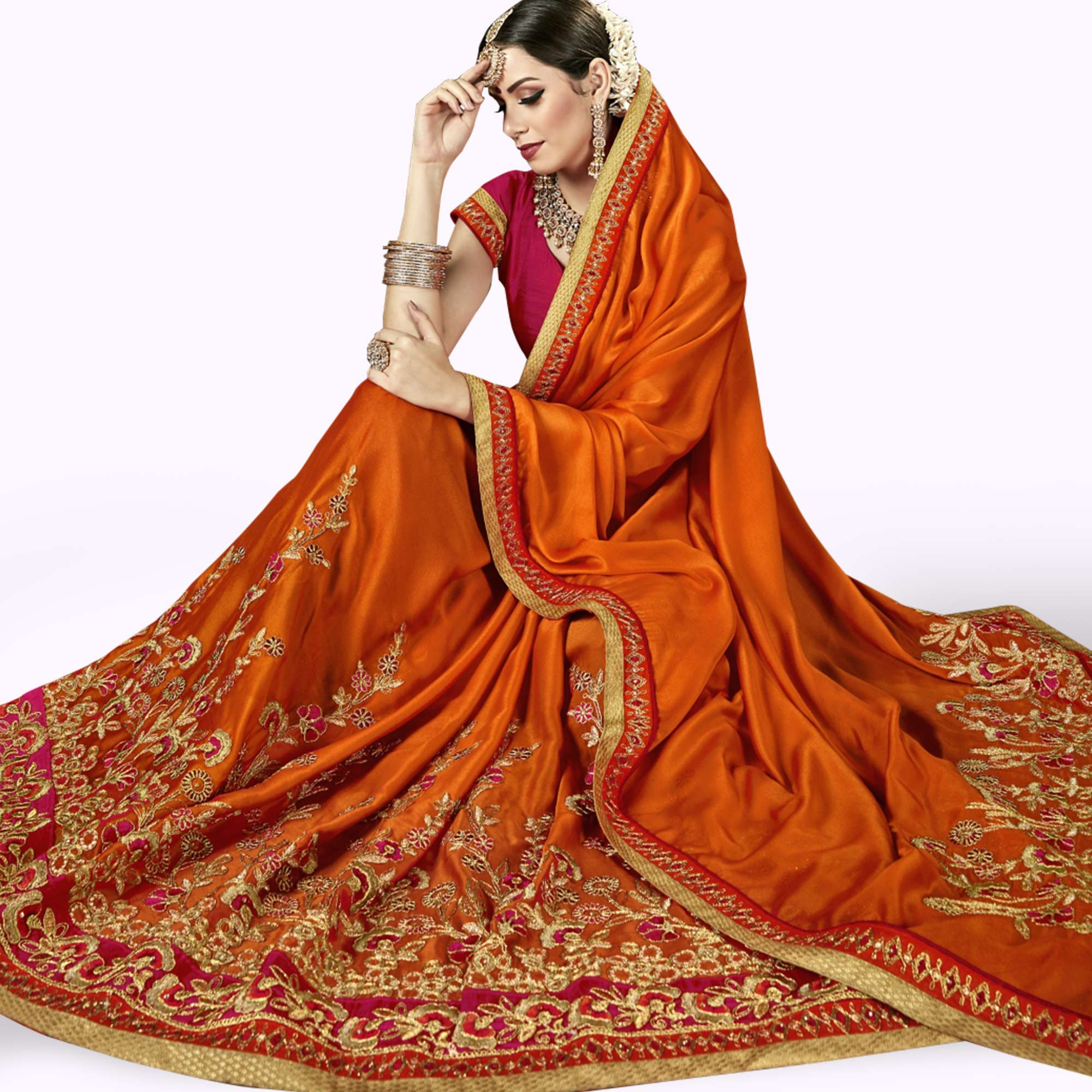 Eye-catching Orange Colored Partywear Embroidered Georgette Saree