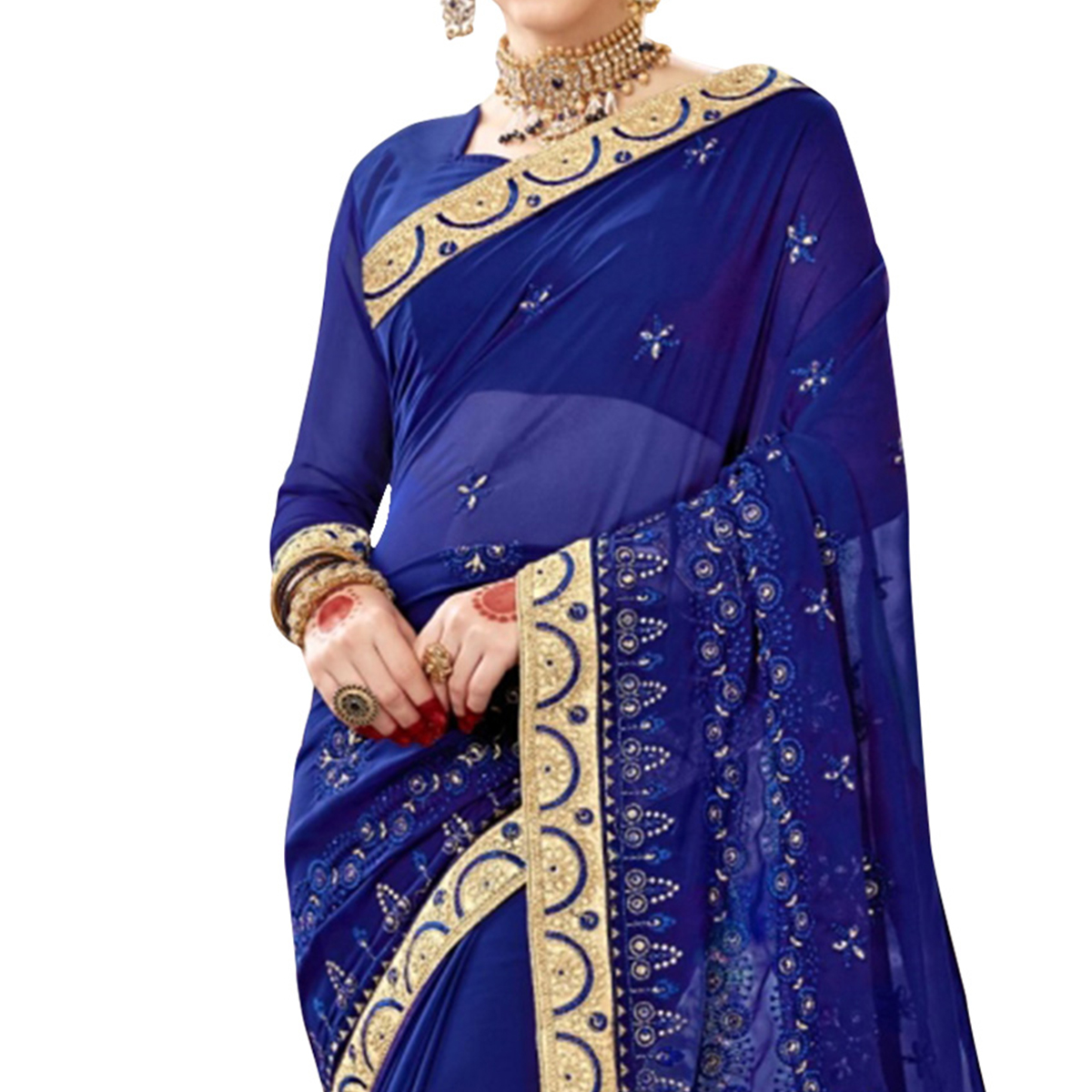 Preferable Blue Colored Partywear Embroidered Georgette Saree