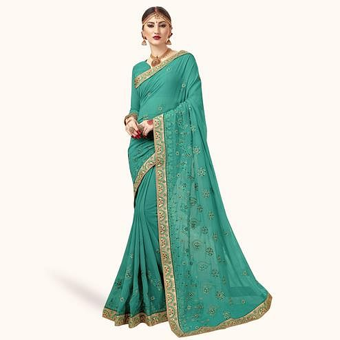 Flamboyant Turquoise Green Colored Partywear Embroidered Georgette Saree