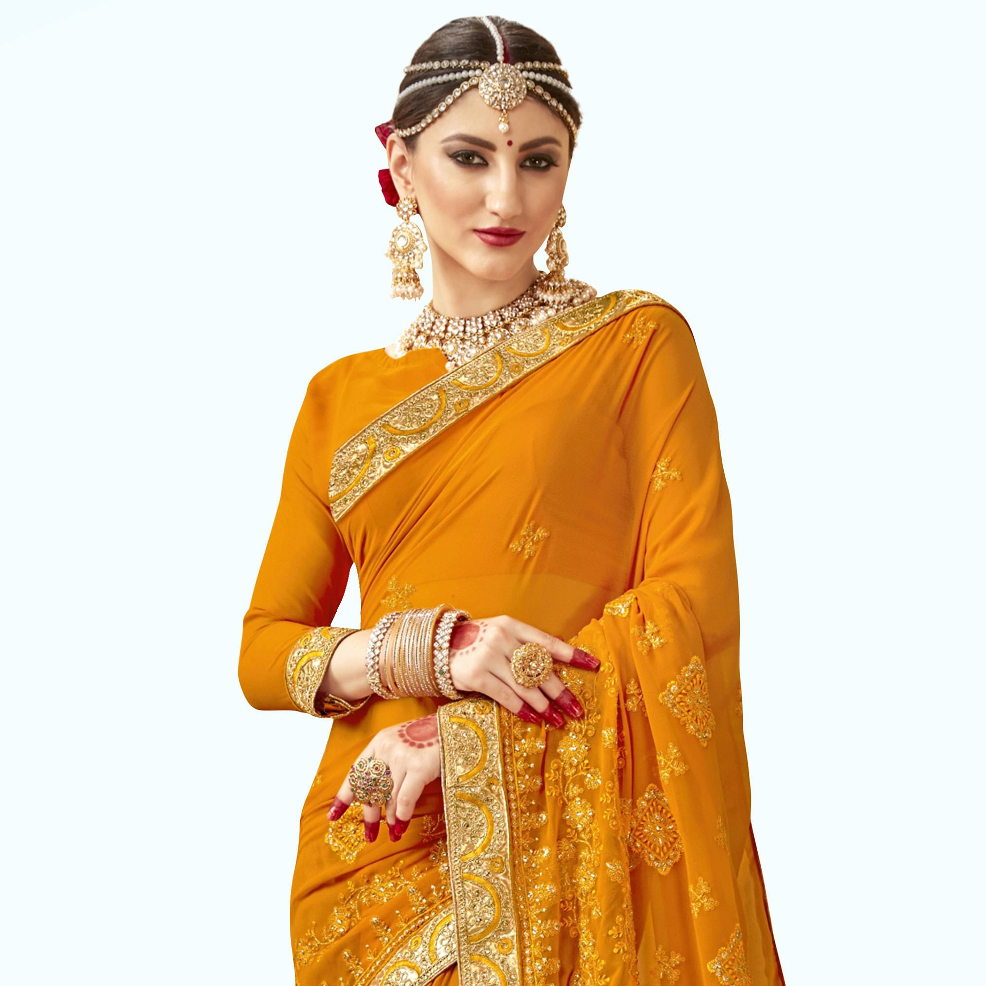Pretty Mustard Yellow Colored Partywear Embroidered Georgette Saree
