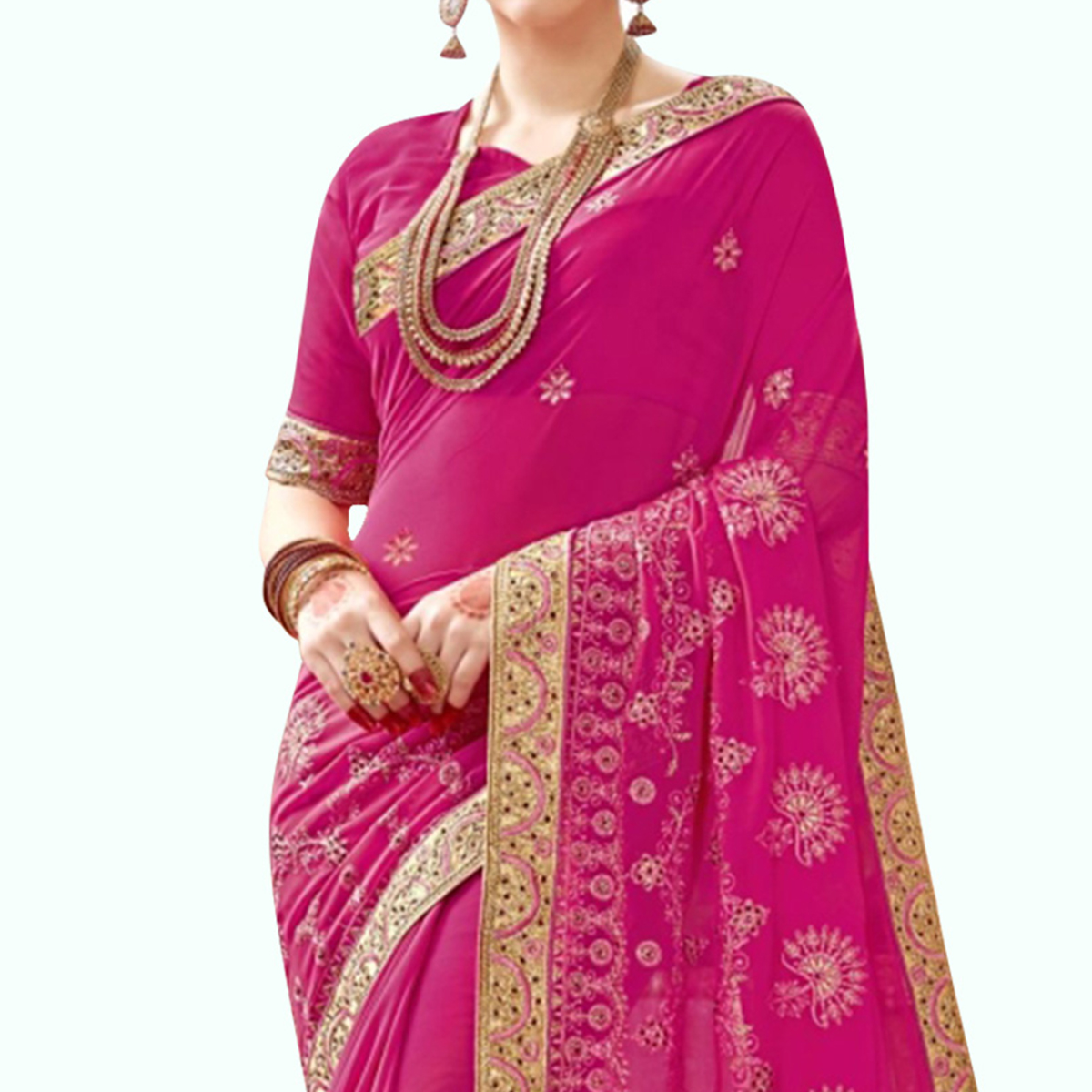 Alluring Rani Pink Colored Partywear Embroidered Georgette Saree