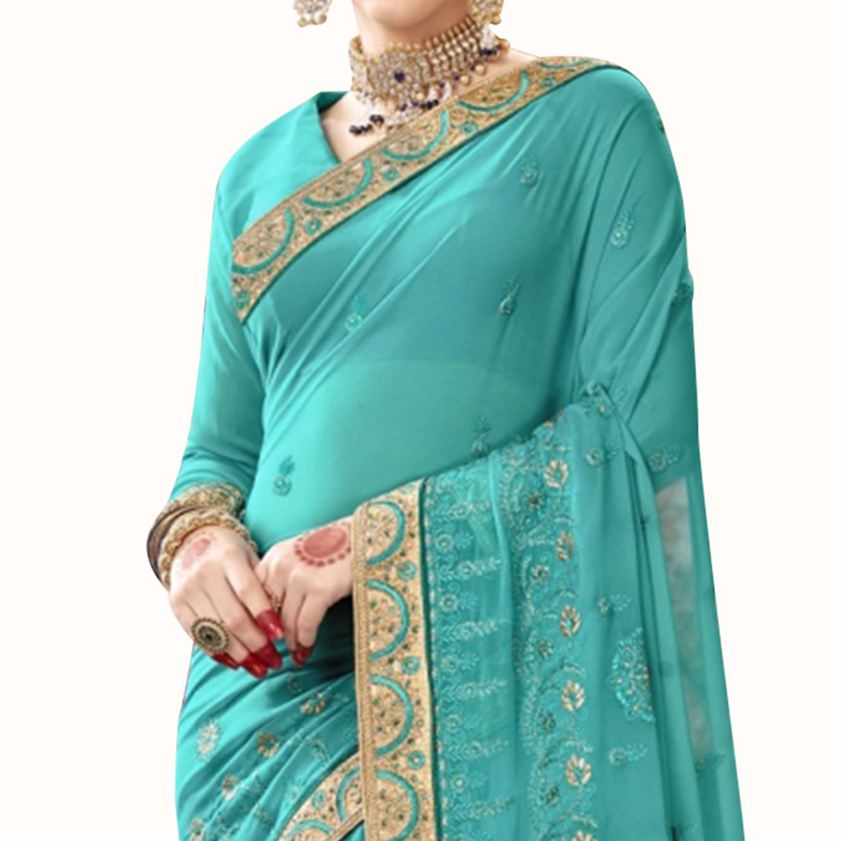 Sensational Sky Blue Colored Partywear Embroidered Georgette Saree