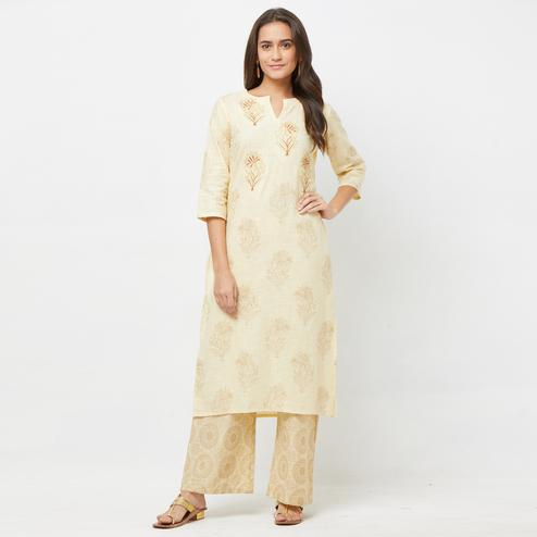 Adorning Off-White Colored Partywear Embroidered Cotton Kurti-Palazzo Set