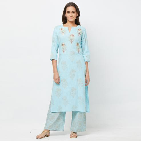 Appealing Light Blue Colored Partywear Embroidered Cotton Kurti-Palazzo Set