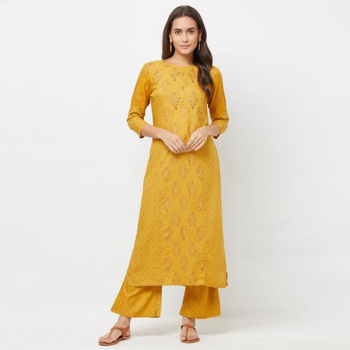 Entrancing Mustard Yellow Colored Partywear Embroidered Cotton Kurti-Palazzo Set