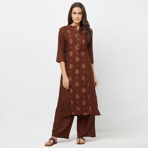 Groovy Brown Colored Partywear Embroidered Cotton Kurti-Palazzo Set
