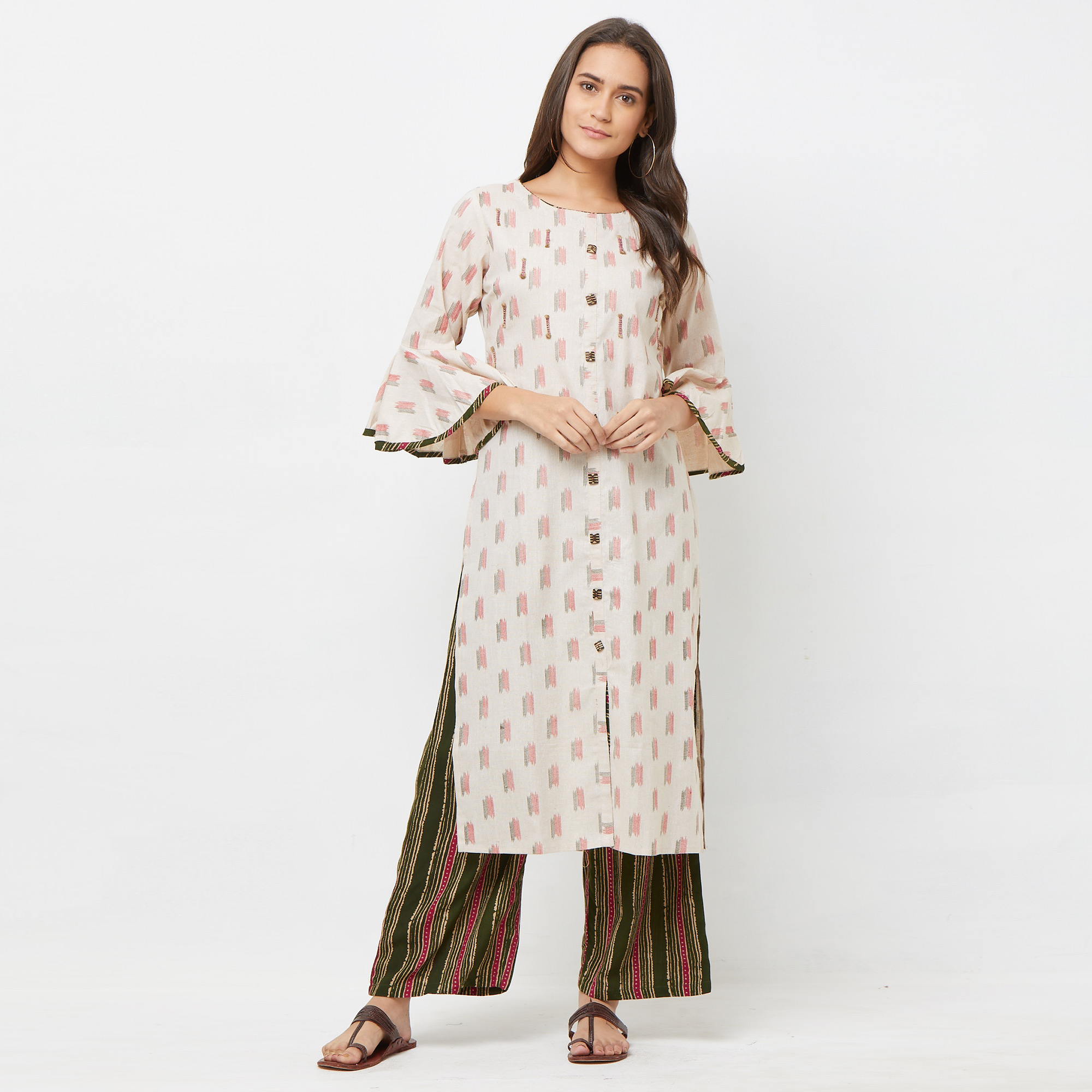 Prominent Green-Pink Colored Partywear Embroidered Cotton Kurti-Palazzo Set