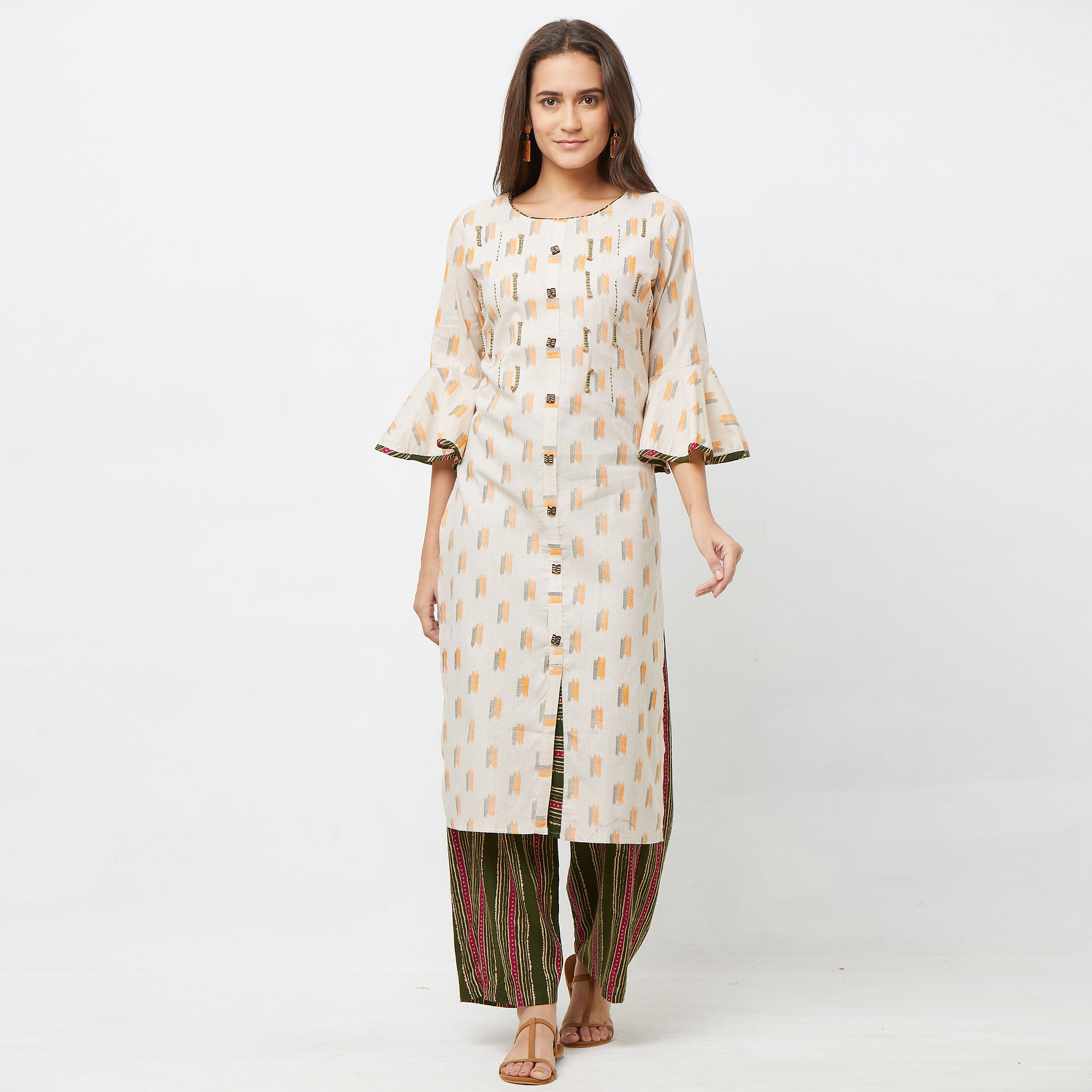 Graceful Green-Orange Colored Partywear Embroidered Cotton Kurti-Palazzo Set