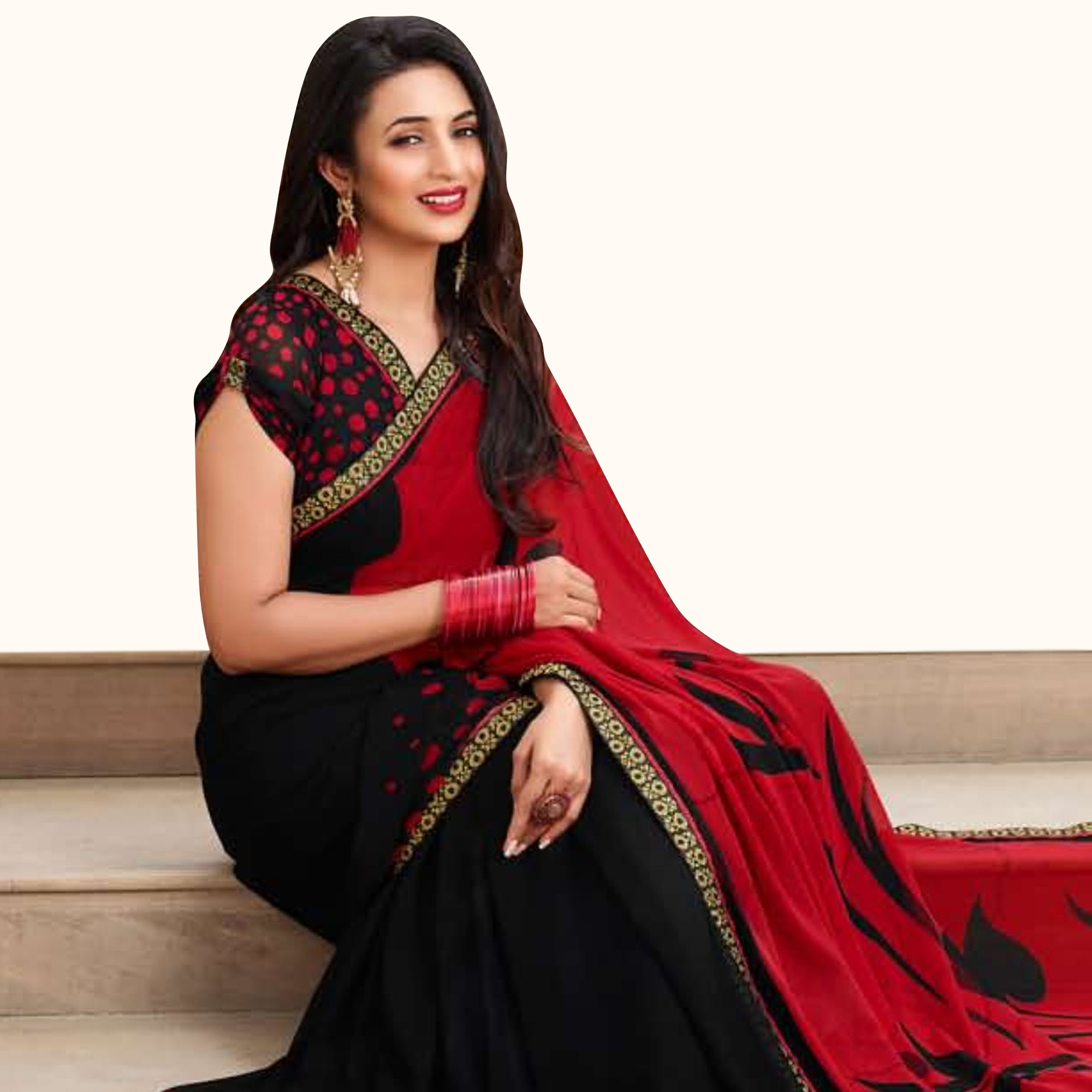 Blissful Black-Red Colored Casual Printed Georgette Saree