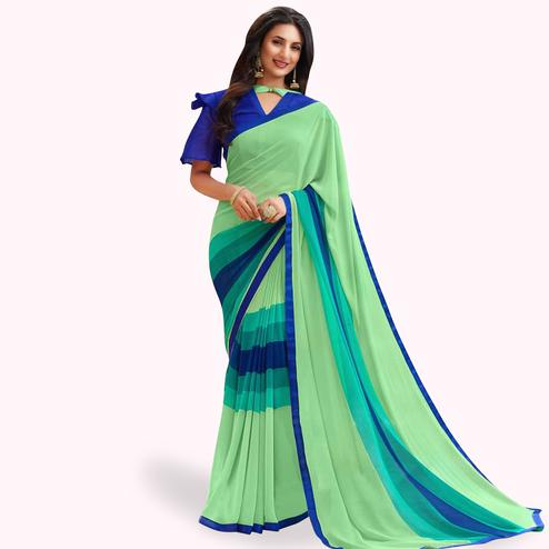 Gorgeous Pastel Green Colored Casual Printed Georgette Saree
