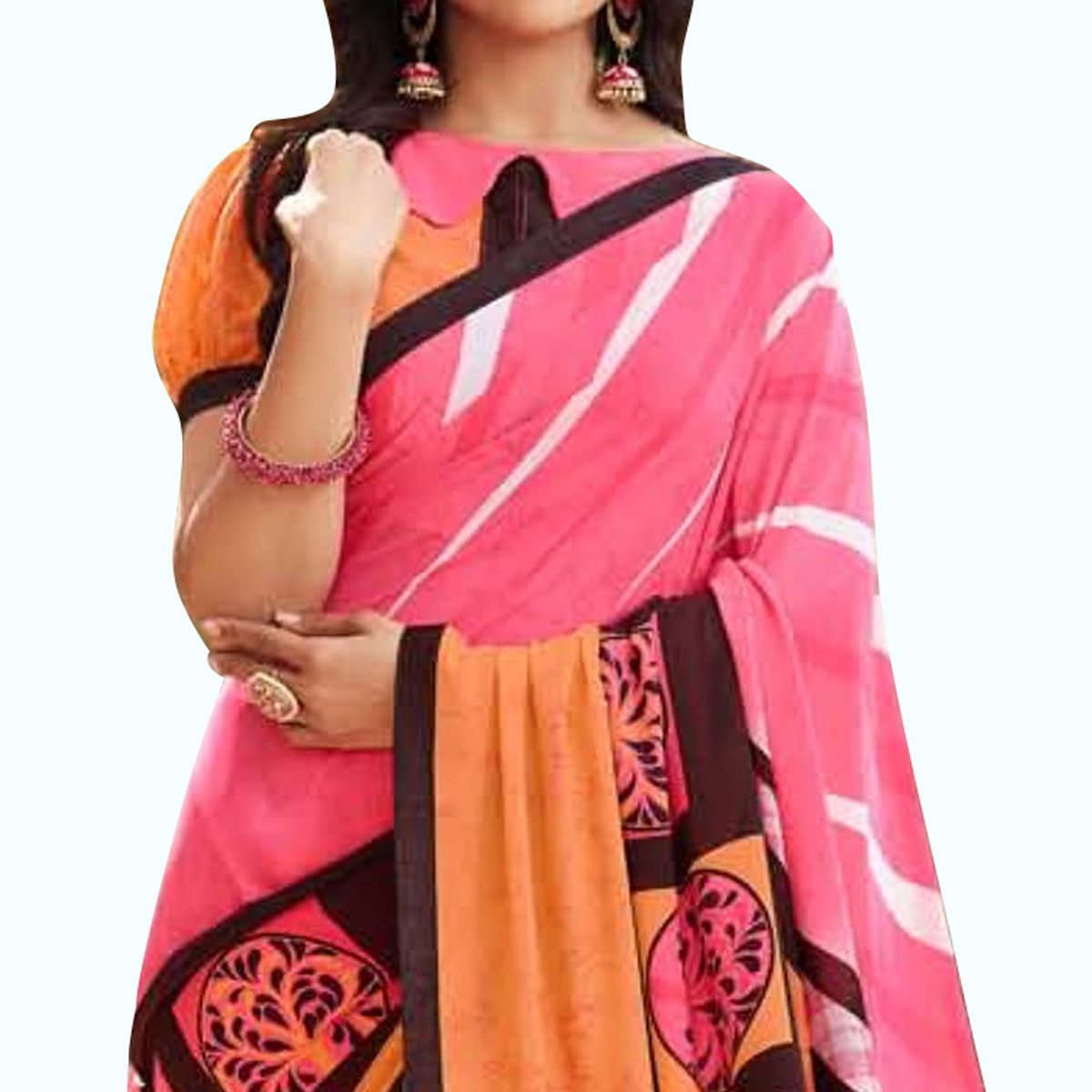 Amazing Pink Colored Casual Printed Georgette Saree