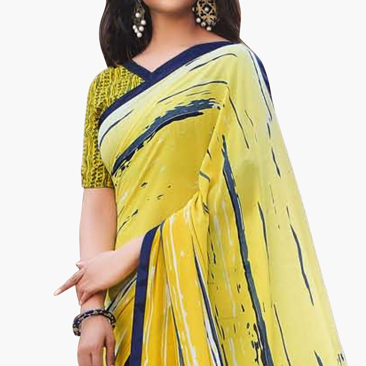 Fantastic Yellow Colored Casual Printed Georgette Saree