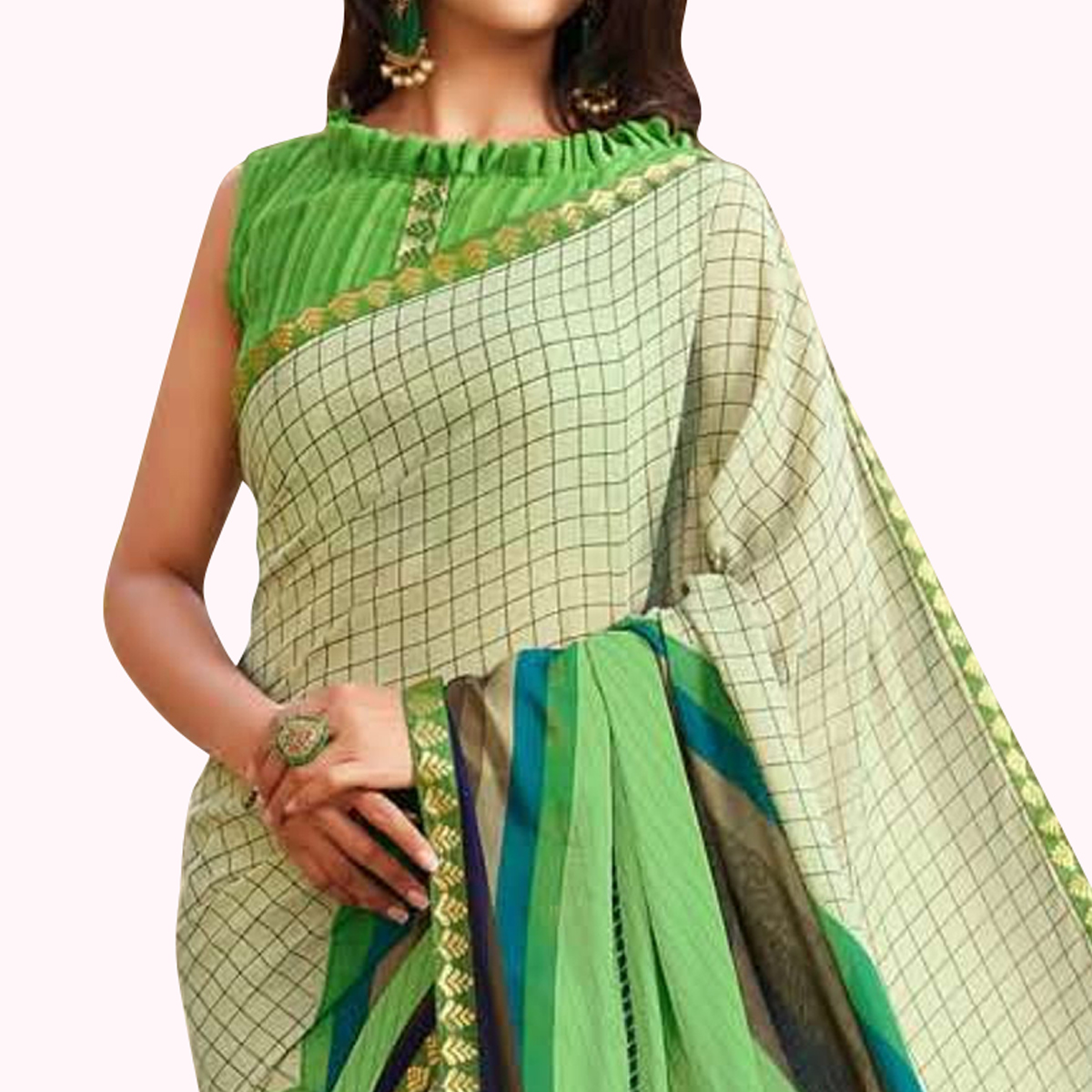 Innovative Green Colored Casual Printed Georgette Saree