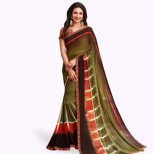 Captivating Olive Green Colored Casual Printed Georgette Saree