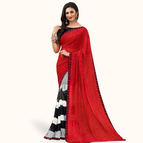 Engrossing Red-Multi Colored Casual Printed Georgette Saree