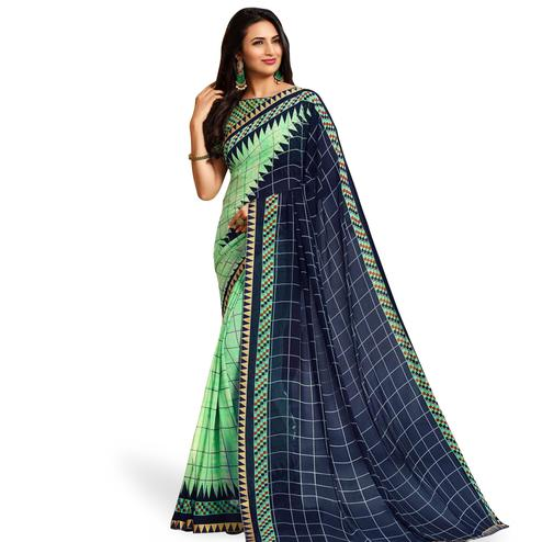 Delightful Green-Blue Colored Casual Printed Georgette Saree