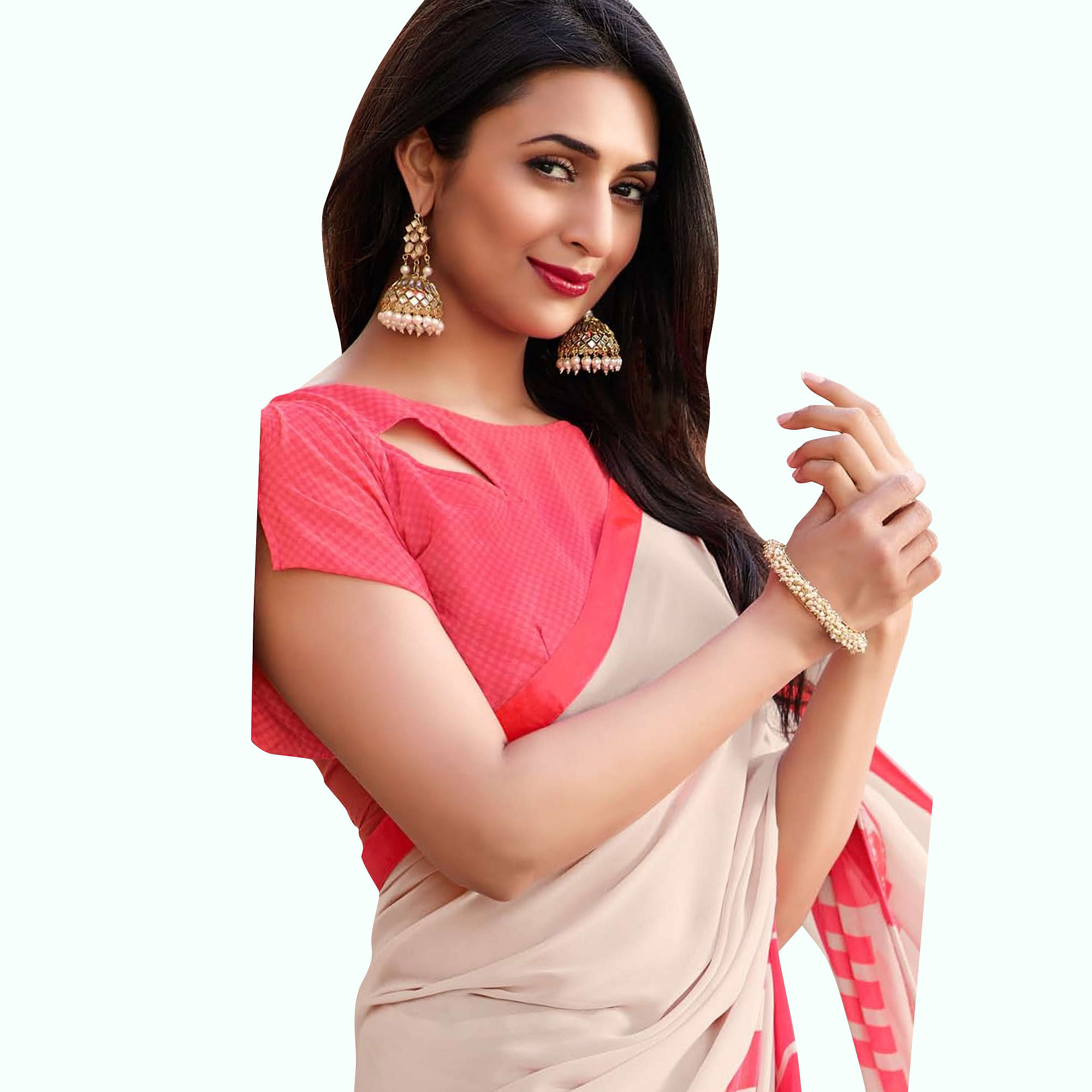 Jazzy Off White-Pink Colored Casual Printed Georgette Saree