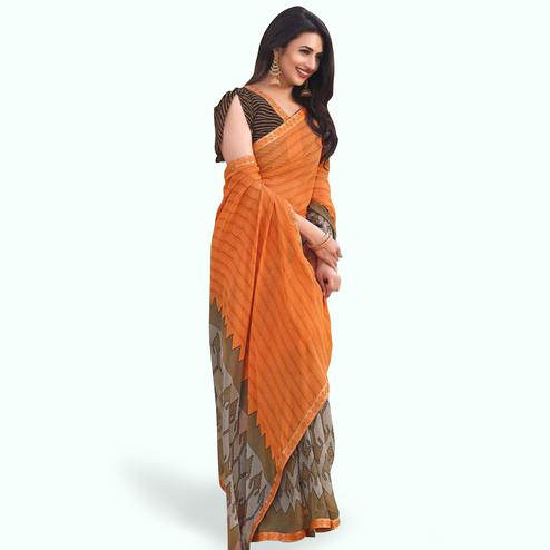 Charming Orange-Gray Colored Casual Printed Georgette Saree