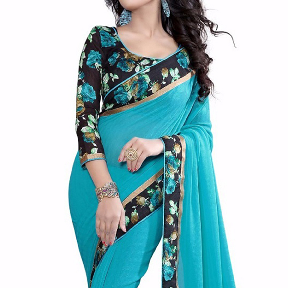 Blue Printed Lace Work Georgette Saree