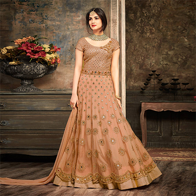 Gorgeous Orange Floral Embroidered Work Net Anarkali Suit