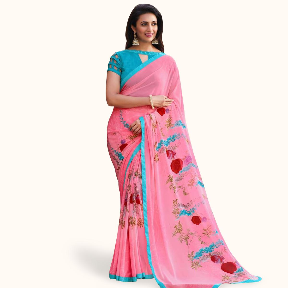 Blooming Pink Colored Casual Printed Georgette Saree