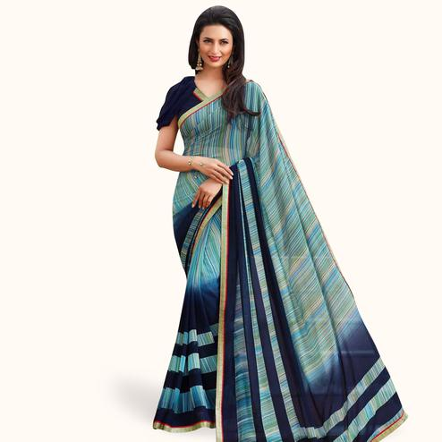 Beautiful Blue Colored Casual Printed Georgette Saree