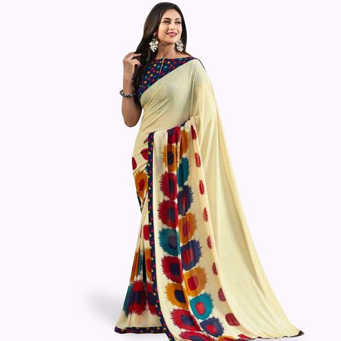 Exotic Cream Colored Casual Printed Georgette Saree