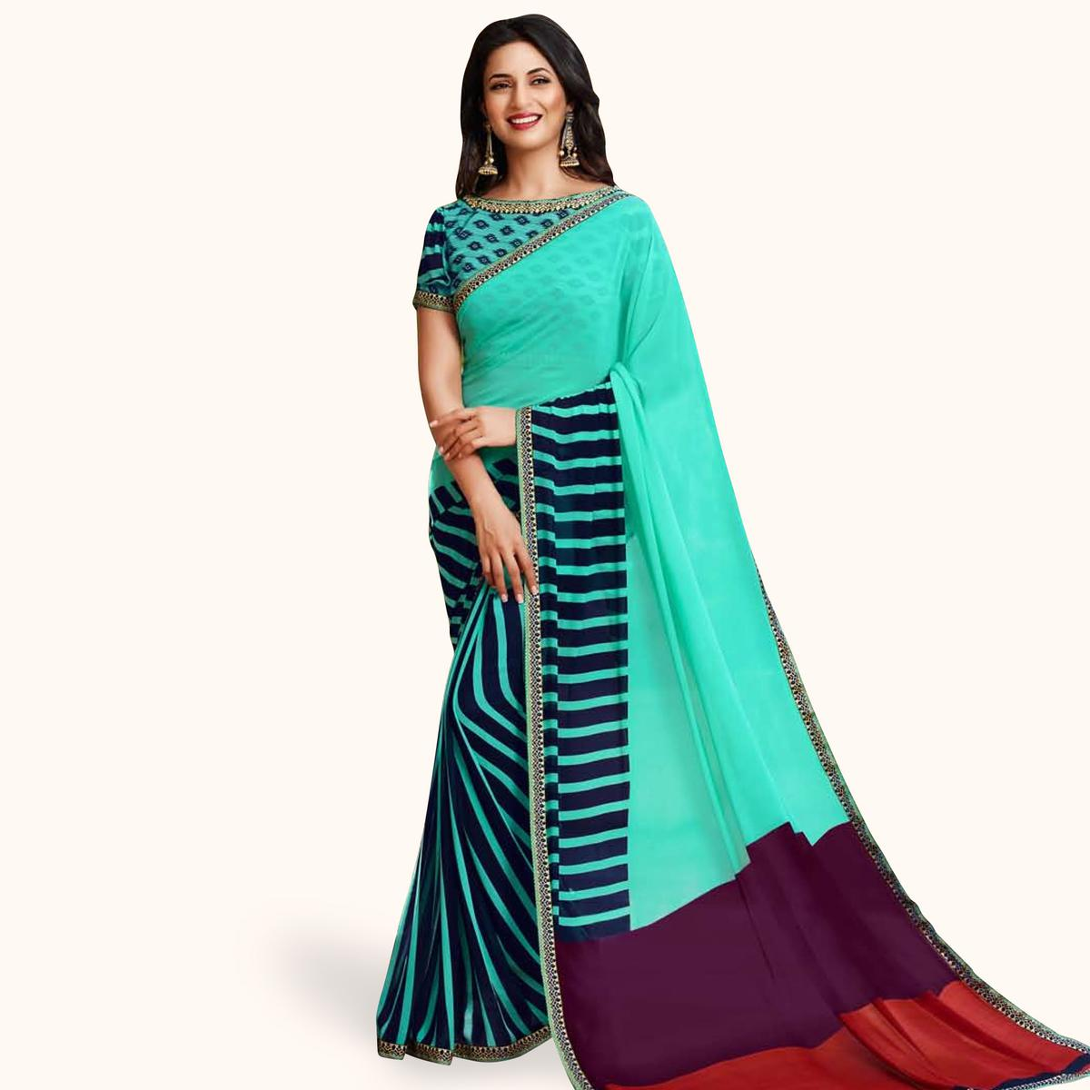 Sophisticated Aqua Green Colored Casual Printed Georgette Saree