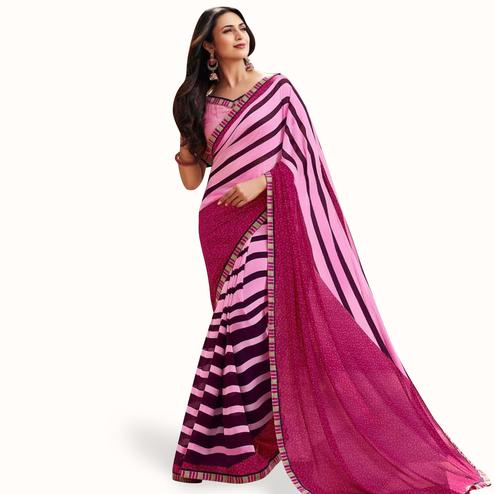 Trendy Pink Colored Casual Printed Georgette Saree