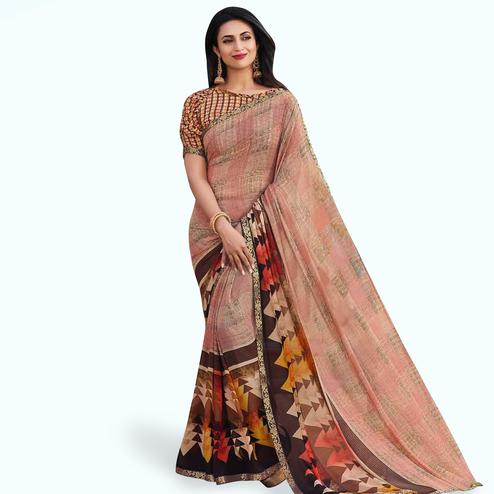 Elegant Peach-Multi Colored Casual Printed Georgette Saree