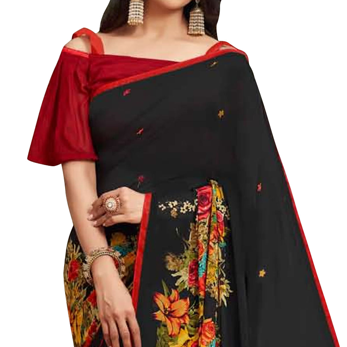 Radiant Black Colored Casual Printed Georgette Saree