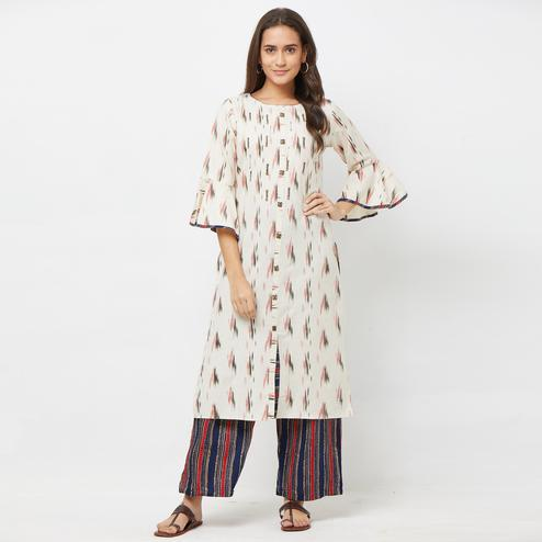 Flaunt Navy Blue-Pink Colored Partywear Embroidered Cotton Kurti-Palazzo Set