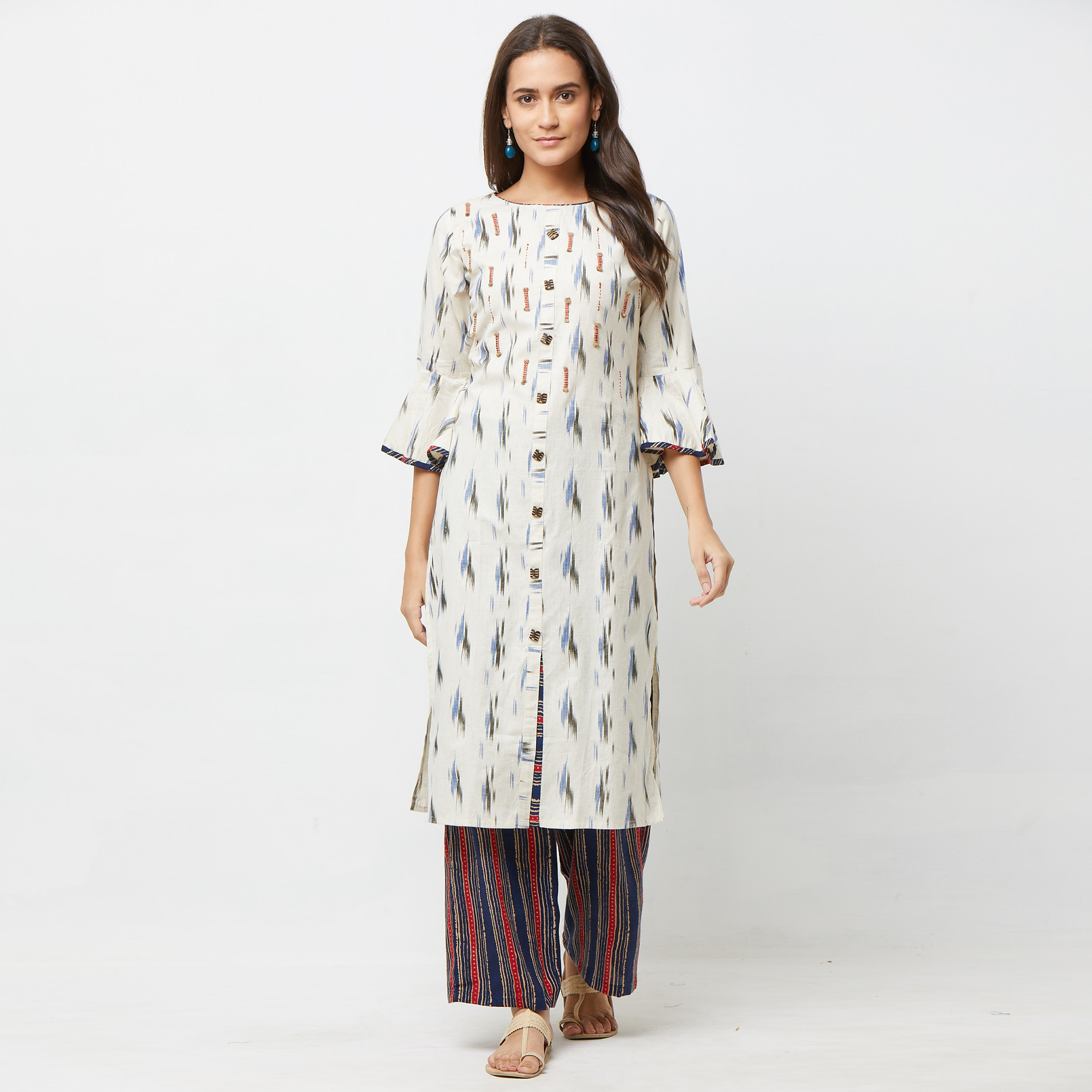 Stunning Blue-Red Colored Partywear Embroidered Cotton Kurti-Palazzo Set