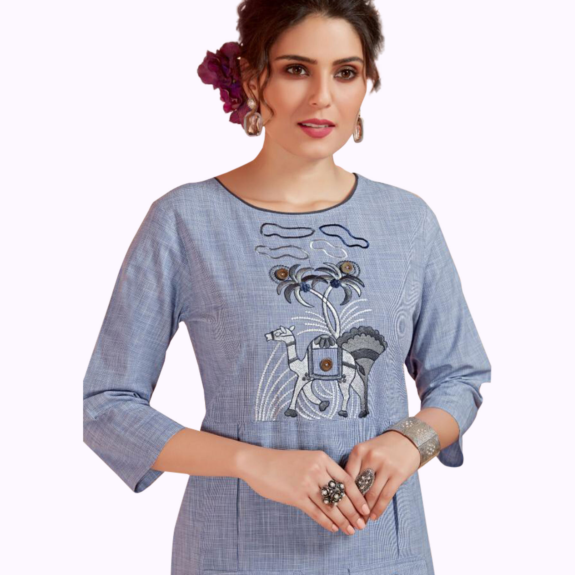 Breathtaking Blue Colored Partywear Embroidered Cotton Long Kurti