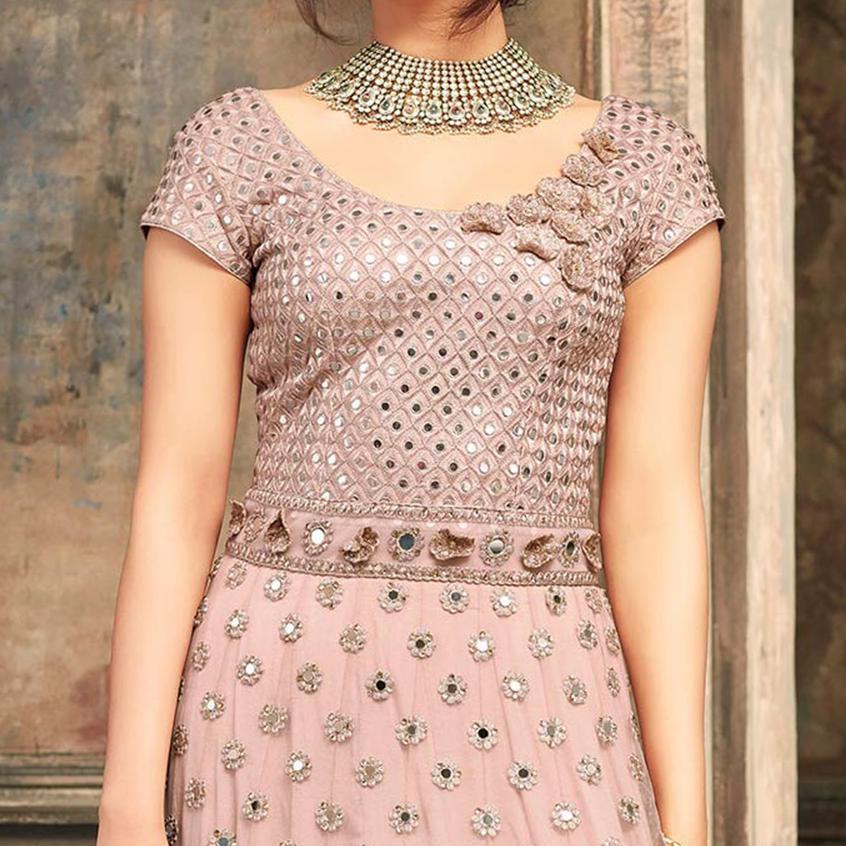 Adorable Peach Floral Embroidered Work Net Anarkali Suit