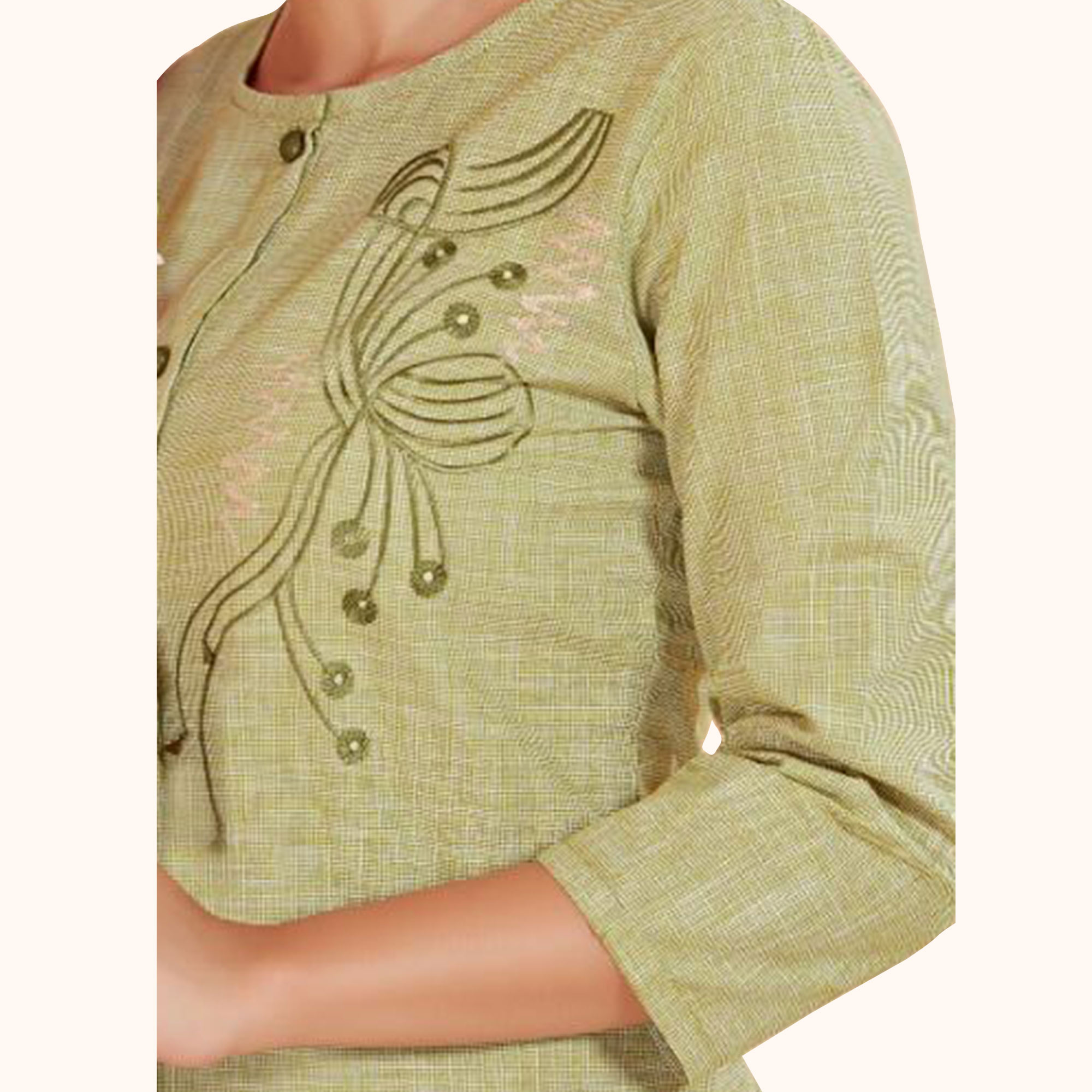 Ethnic Green Colored Partywear Embroidered Cotton Long Kurti