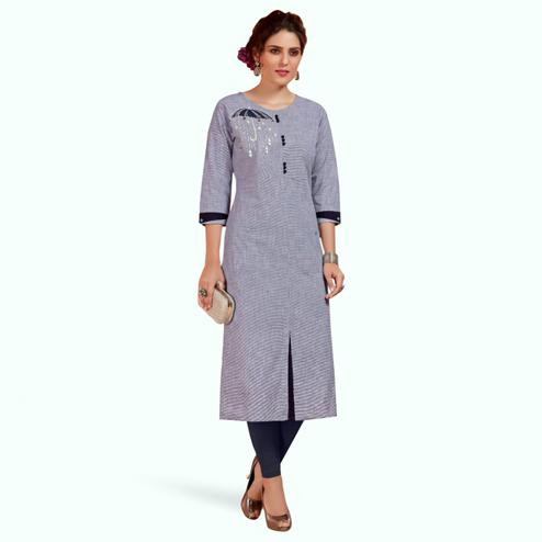 Ravishing Blue Colored Partywear Embroidered Cotton Long Kurti
