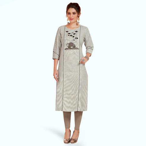 Staring Gray Colored Partywear Embroidered Cotton Long Kurti