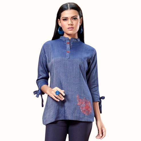Eye-catching Blue Colored Partywear Embroidered Cotton Short Kurti