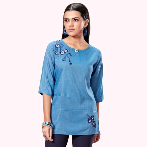Fantastic Light Blue Colored Partywear Embroidered Cotton Short Kurti