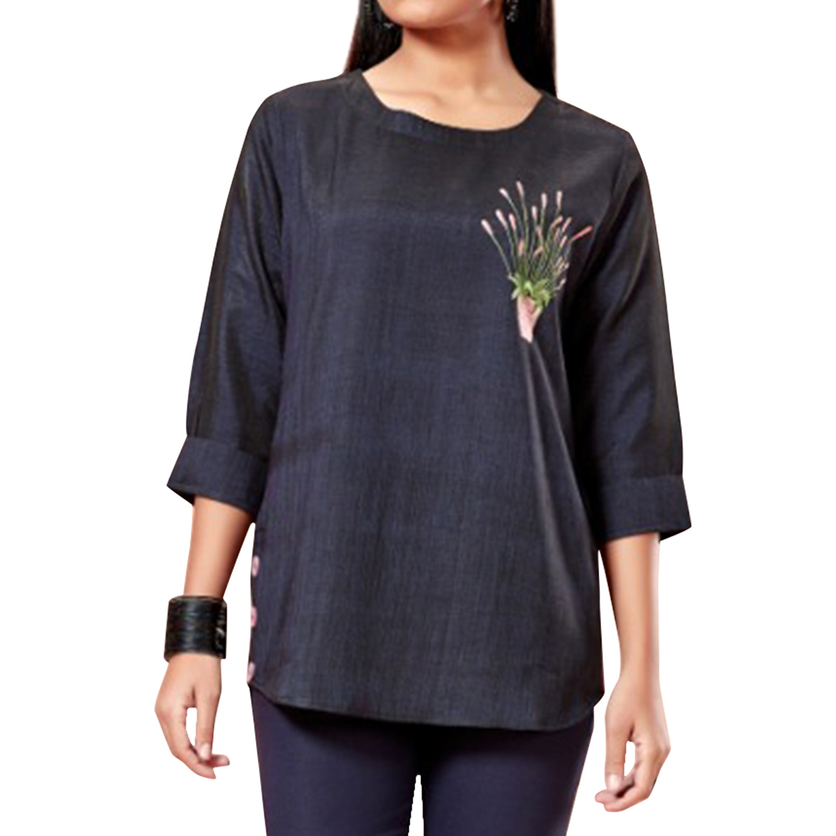 Amazing Black Colored Partywear Embroidered Cotton Top