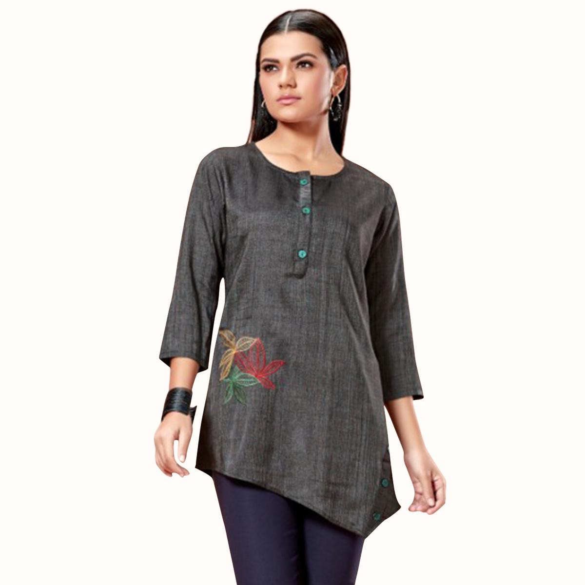 Gorgeous Dark Gray Colored Partywear Embroidered Cotton Top