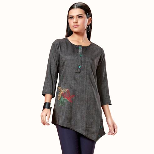 Gorgeous Dark Gray Colored Partywear Embroidered Cotton Short Kurti