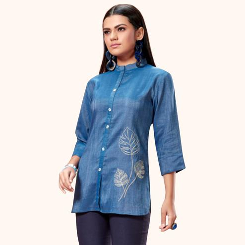 Blissful Blue Colored Partywear Embroidered Cotton Short Kurti