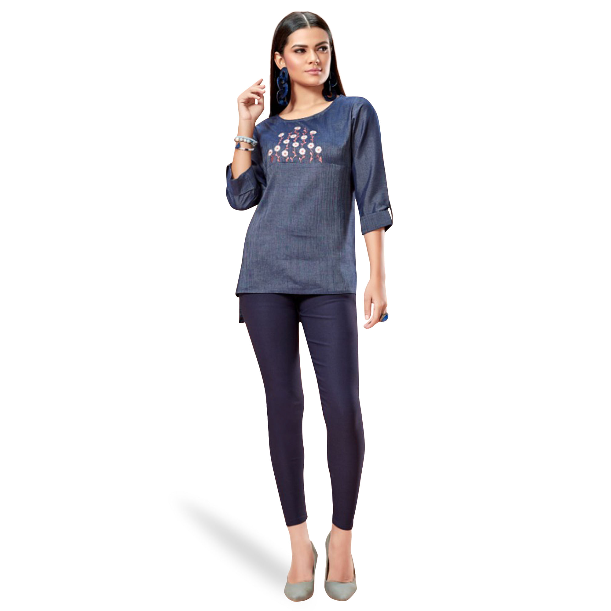 Ideal Blue Colored Partywear Embroidered Cotton Top