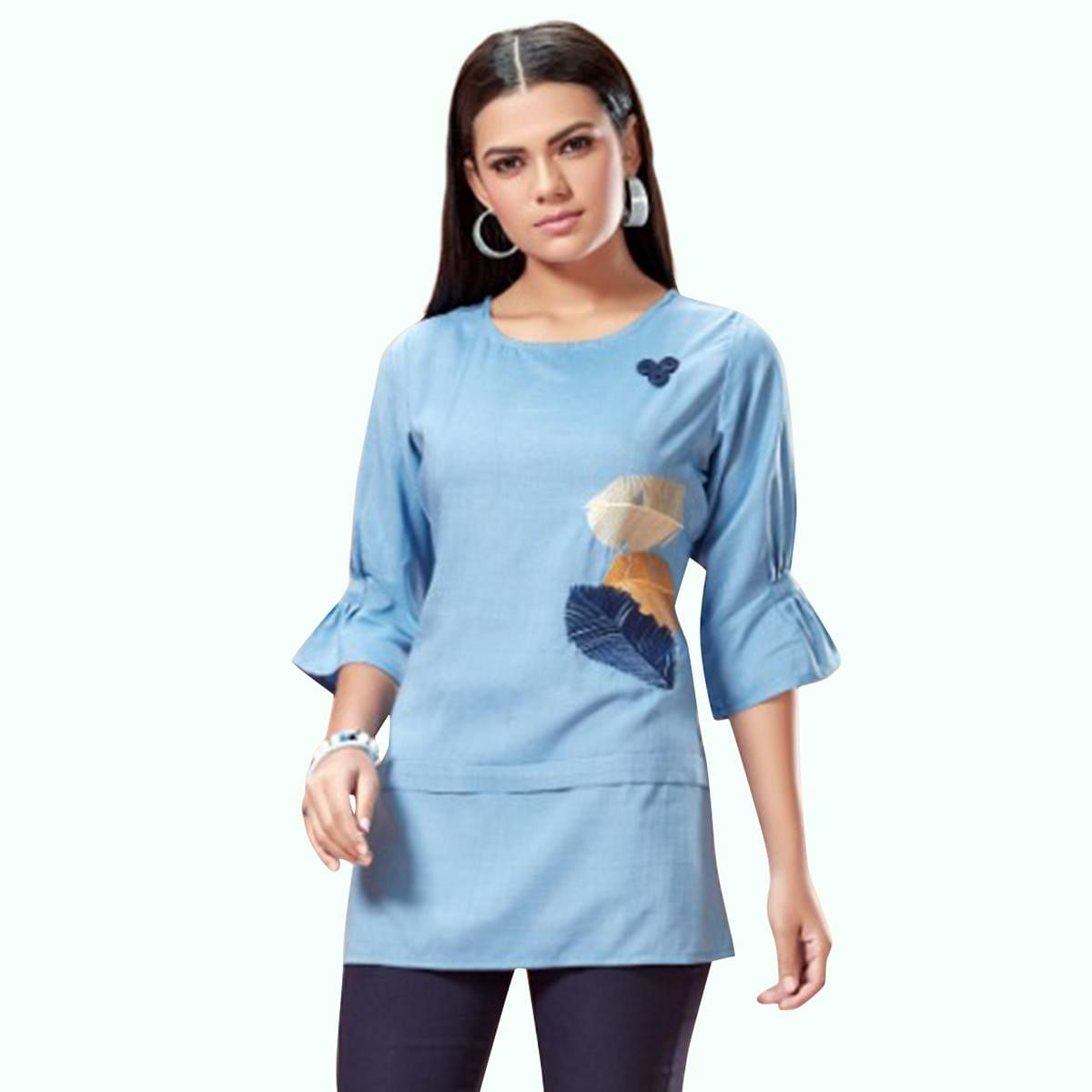 Imposing Pastel Blue Colored Partywear Embroidered Cotton Top