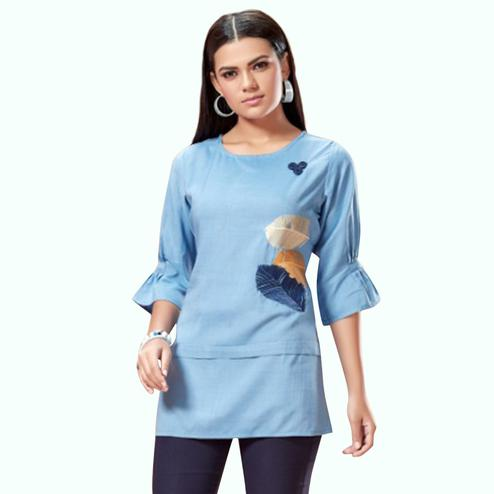 Imposing Pastel Blue Colored Partywear Embroidered Cotton Short Kurti