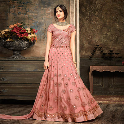 Graceful Pink Floral Embroidered Work Net Anarkali Suit