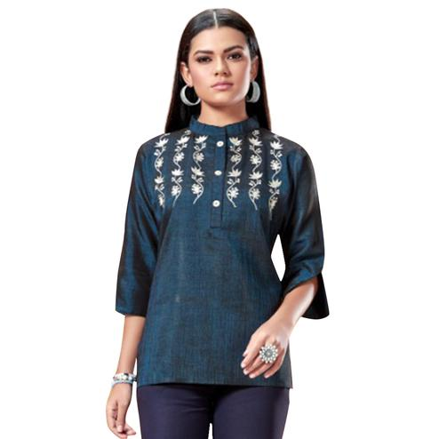 Lovely Teal Green Colored Partywear Embroidered Cotton Short Kurti