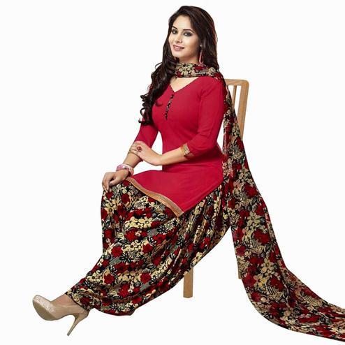 Groovy Red Colored Casual Printed Crepe Patiala Dress Material